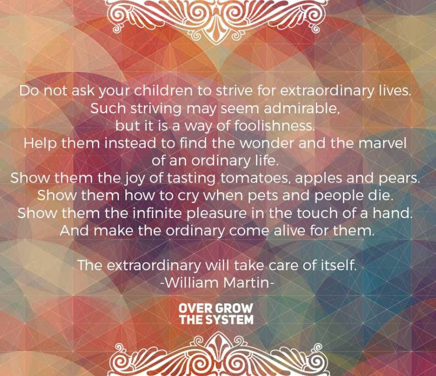 Do not ask your children to strive for extraordinary lives. Such striving may seem admirable, but it is a way of foolishness. Help them instead to find the wonder and the marvel of an ordinary life. Show them the joy of tasting tomatoes, apples and pears. Show them how to cry when pets and people die. Show them the infinite pleasure in the touch of a hand. And make the ordinary come alive for them. The extraordinary will take care of itself. -William Martin-